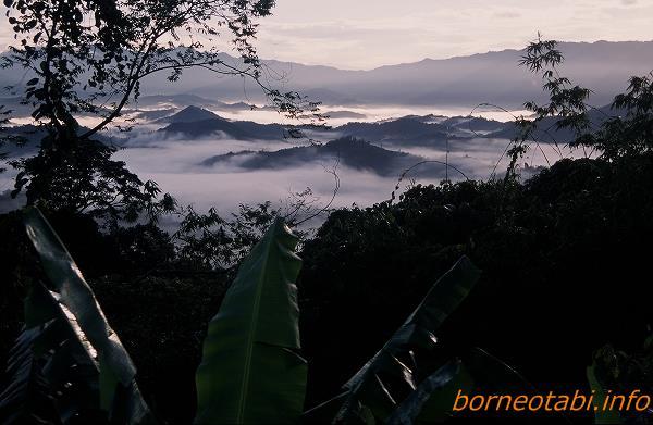 2002年5月朝霧の間に広がる北ボルネオの山々