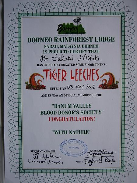 2002年5月3日 ダナンバレー献血協会の正式メンバー証