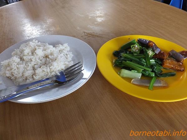 野菜炒めとライス 2014.2.11 コタキナバル